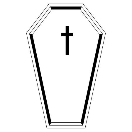 Isolated black coffin icon. Vector illustration design Illustration