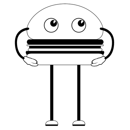 Hamburger thinking emote. Fast food. Vector illustration design
