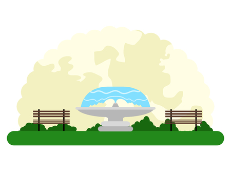 Landscape of an outdoor park with a fountain. Vector illustration design