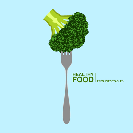 Fork with a brocoli. Healthy food concept. Vector illustration design