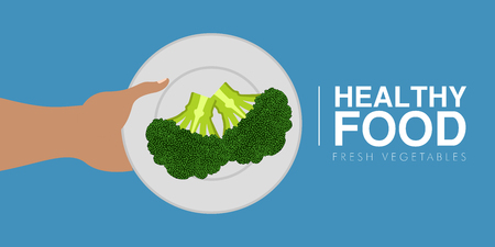 Hand holding a brocoli. Healthy food concept. Vector illustration design Stock Illustratie
