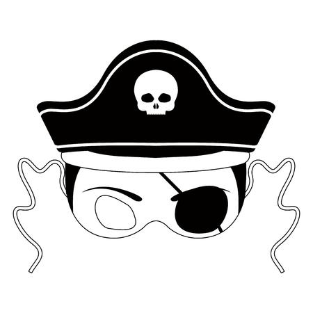 Isolated halloween pirate mask. Vector illustration design Ilustração