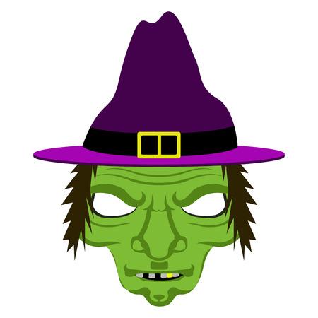 Masque de sorcière d'halloween isolé. Conception d'illustration vectorielle