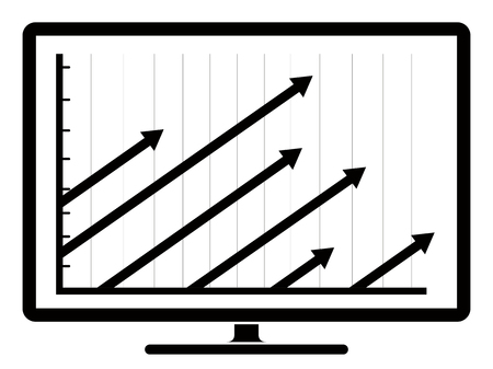 Business graph on a computer screen. Vector illustration design