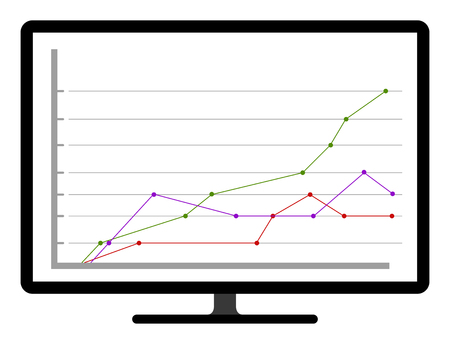 Colored business graph on a computer screen. Vector illustration design