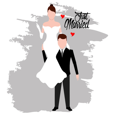 Groom and bride. Just married couple. Wedding concept image. Vector illustration design