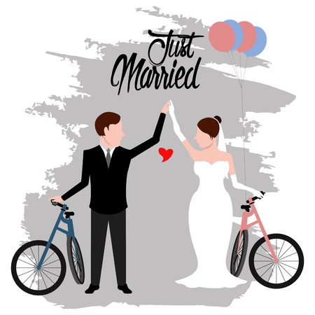Bride and groom on bicycles. Just married couple. Marriage concept image. Vector illustration design Vectores