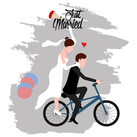 Groom and bride on a bicycle. Just married couple. Wedding concept image. Vector illustration design Vectores