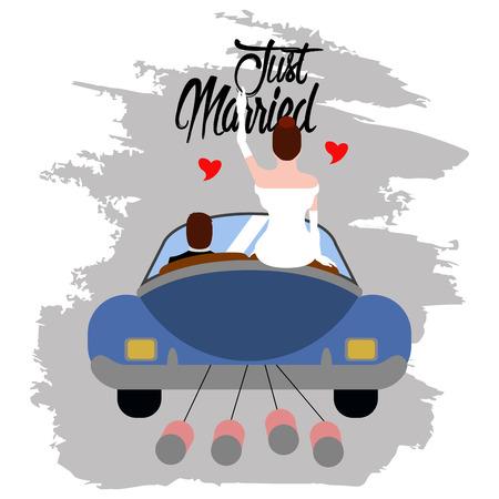 Novios en un coche. Recién casados. Imagen del concepto de matrimonio. Diseño de ilustración vectorial Ilustración de vector