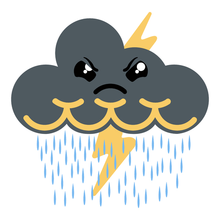 Cute angry thunderstorm weather icon. Vector illustration design