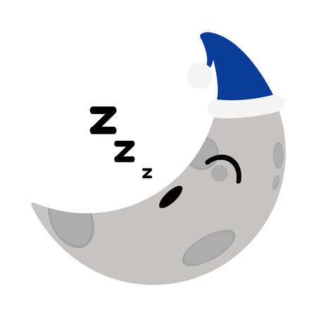 Asleep cute moon weather icon. Vector illustration design