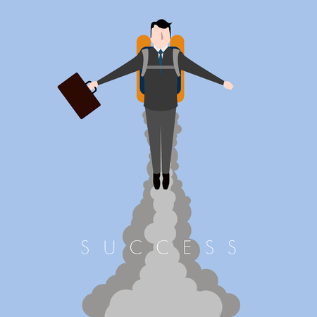 Businessman flying with a jetpack. Success business concept image. Vector illustration design