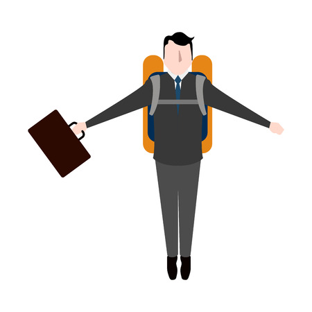 Businessman with a jetpack icon. Vector illustration design