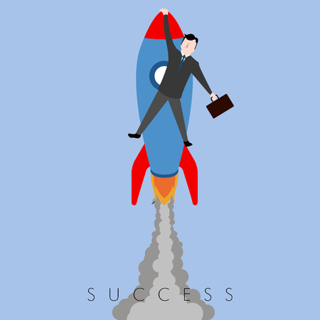Businessman riding a rocket. Success business concept image Illustration