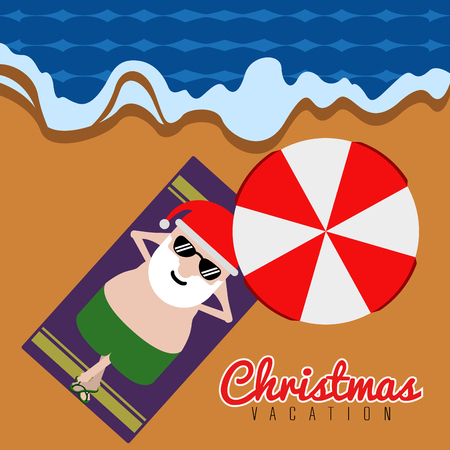Santa claus relaxin on the beach. Christmas summer vacation. Vector illustration design