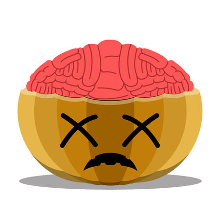 Dead halloween pumpkin with its brain out. Vector illustration design Ilustração
