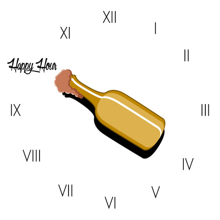 Happy hour poster with a beer bottle inside a clock. Vector illustration design