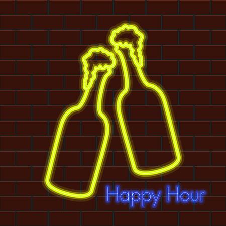 Happy hour neon poster with a beer bottles. Vector illustration design Illustration
