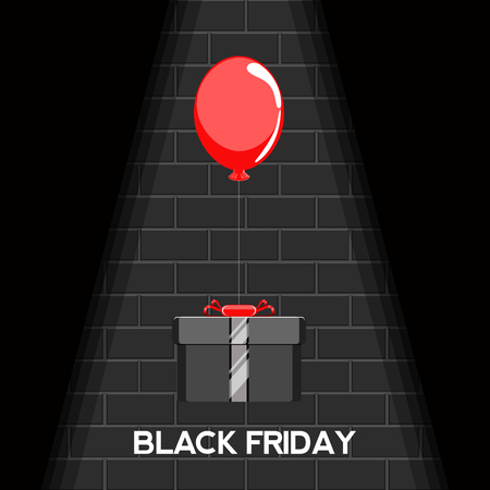 Black friday background with a ballon and gift. Vector illustration design