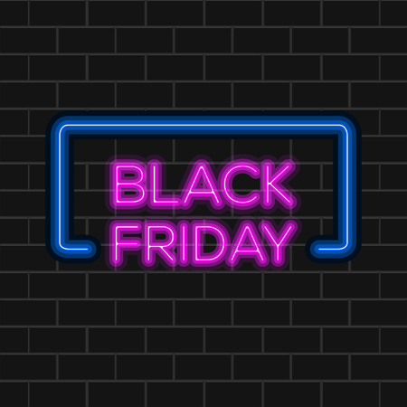 Black friday background with neon text. Vector illustration design Illustration