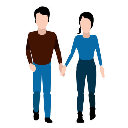 Isolated happy couple. Valentine day. Vector illustration design