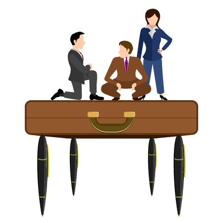 Business people on a briefcase with pens. Vector illustration design