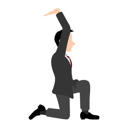 Isolated kneeling businessman Ilustração