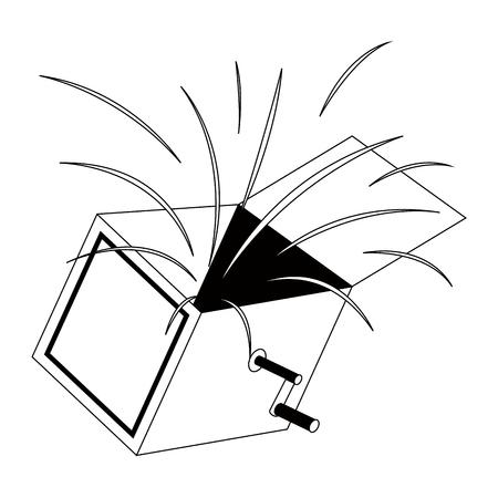 Isolated joke box silhouette. April fool. Vector illustration design
