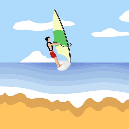 Beautiful beach landscape image. Summer season. Vector illustration design Vecteurs