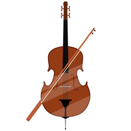 Immagine isolata del contrabbasso. Strumento musicale. Disegno di illustrazione vettoriale
