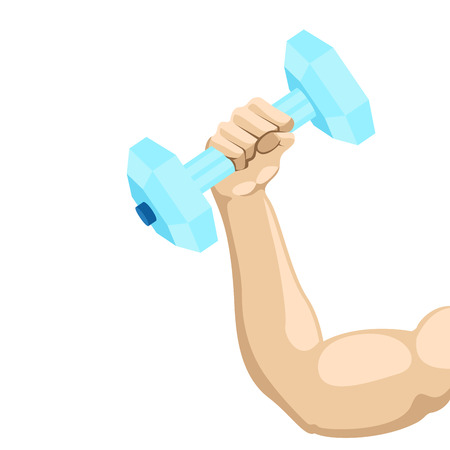 Arm lifting a dumbbell with water. Fitness concept. Vector illustration design Illustration