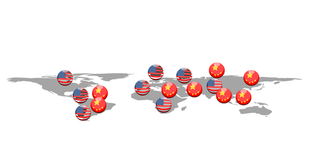 American and chinese buttons in the world map. Vector illustration design Иллюстрация