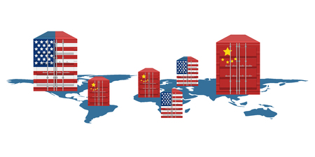 American and chinese containers on the world map. Vector illustration design