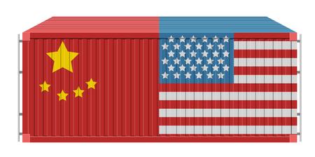 Contenedor con bandera de Estados Unidos y China. Diseño de ilustración vectorial