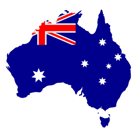 Map of Australia with flag. Vector illustration design