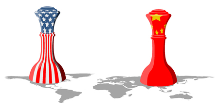 Chess piece with flags of United States and China on the world map. Vector illustration design