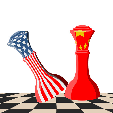 Chess piece with flags of United States and China on a chessboard. Vector illustration design