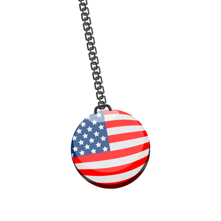 Demolition ball with a flag of United States. Vector illustration design