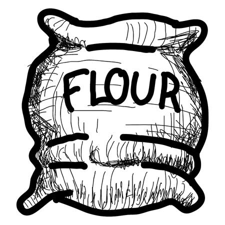 Isolated vintage sketch of a flour sack. Vector illustration design Vetores