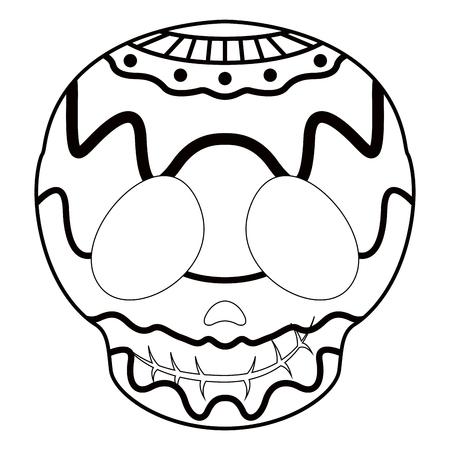Umriss einer glücklichen mexikanischen Schädelkarikatur. Vektorillustrationsdesign