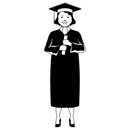 Isolated happy graduating woman. Vector illustration design