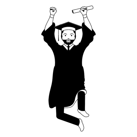 Isolated graduating man image. Vector illustration design Çizim