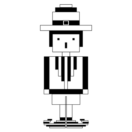 Isolated pixel patrick day elf. Vector illustration design