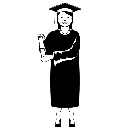 Isolated happy graduating woman. Vector illustration design