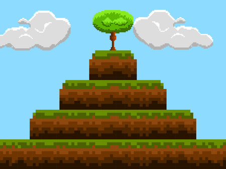 Colored videogame stage image. Vector illustration design