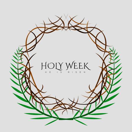 Bannière de la semaine sainte avec une couronne d'épines