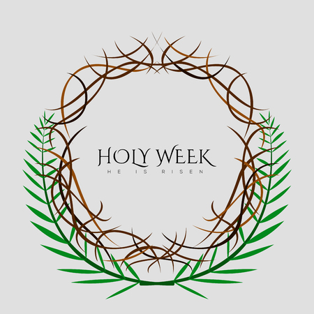 Holy week banner with a crown of thorns 矢量图像