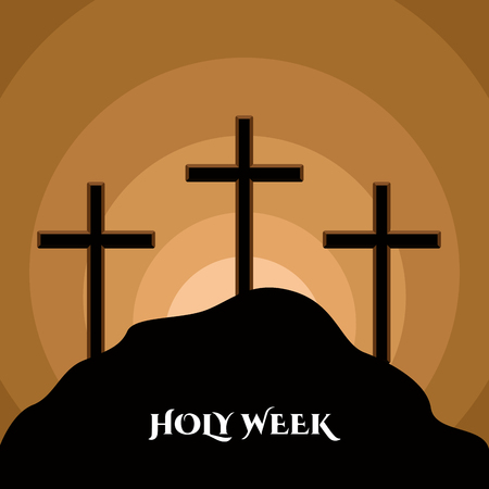 Holy week banner with a Calvary silhouette Illustration