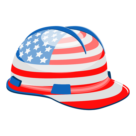 Construction helmet with a flag of United States. Vector illustration design