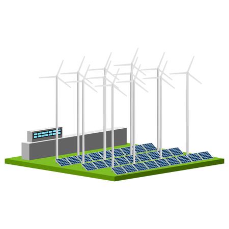 Solar and wind power plant. Vector illustration design Ilustrace